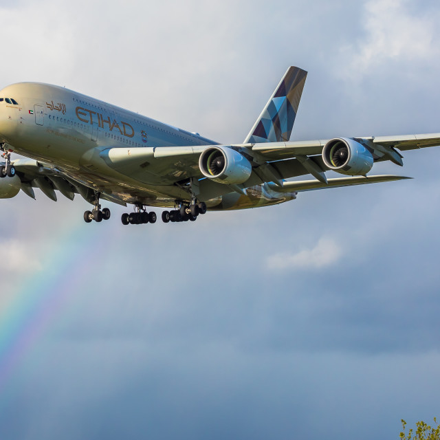 """Airbus A380 Etihad Airways A6-APD"" stock image"
