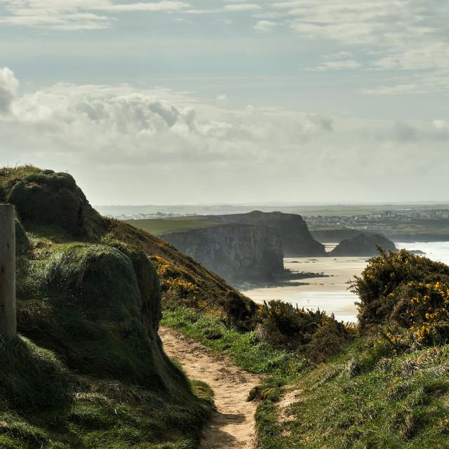 """On the Cornish coast path."" stock image"