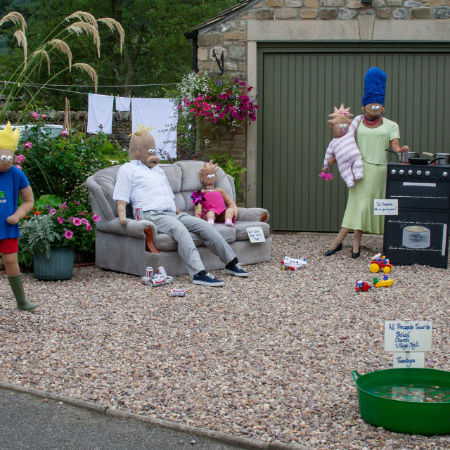 """""""Kettlewell Scarecrow Festival and Trail, The Simpsons. Yorkshire Dales, England."""" stock image"""