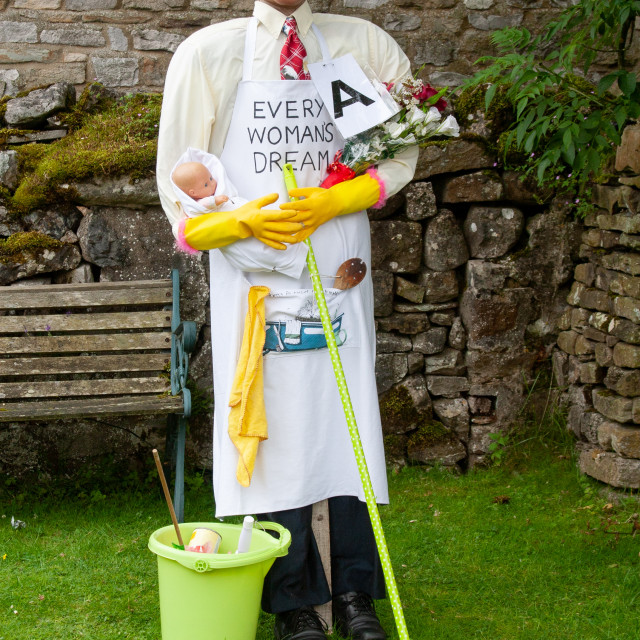 """""""Kettlewell Scarecrow Festival and Trail, House Husband, Yorkshire Dales, England."""" stock image"""