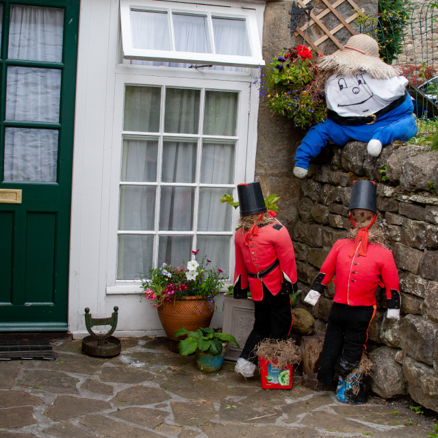 """""""Kettlewell Scarecrow Festival and Trail, Humpty Dumpty. Yorkshire Dales, England."""" stock image"""