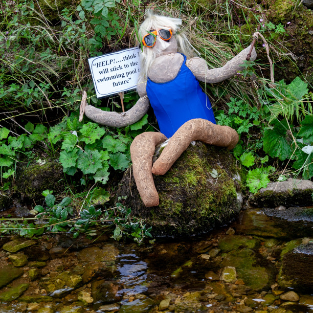 """""""Kettlewell Scarecrow Festival and Trail, Lost Swimmer. Yorkshire Dales, England."""" stock image"""