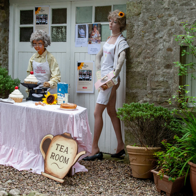 """""""Kettlewell Scarecrow Festival and Trail, W.I. Bigger Buns, Zarinas Tea Room. Yorkshire Dales, England."""" stock image"""