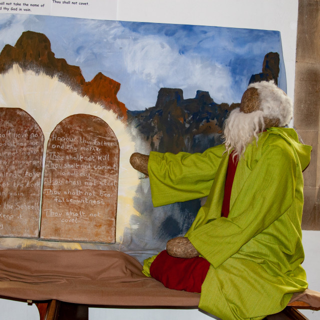 """""""Kettlewell Scarecrow Festival and Trail, Moses and Ten Commandments. Yorkshire Dales, England."""" stock image"""