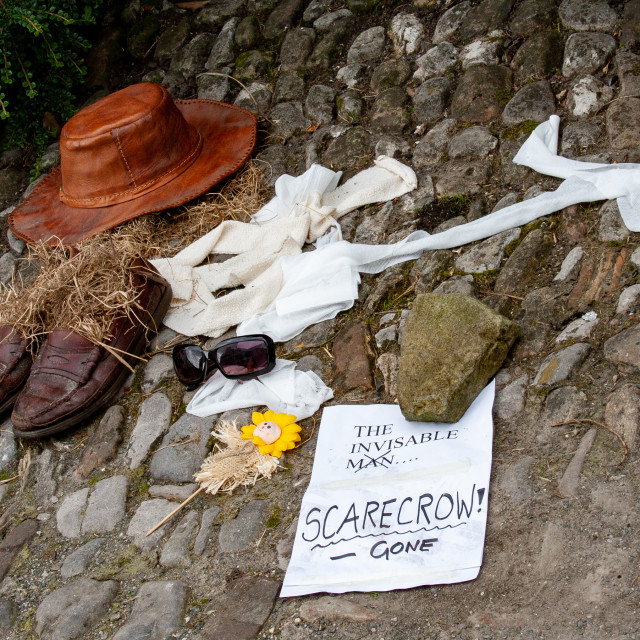 """""""Kettlewell Scarecrow Festival and Trail, The Invisable Scarecrow. Yorkshire Dales, England."""" stock image"""
