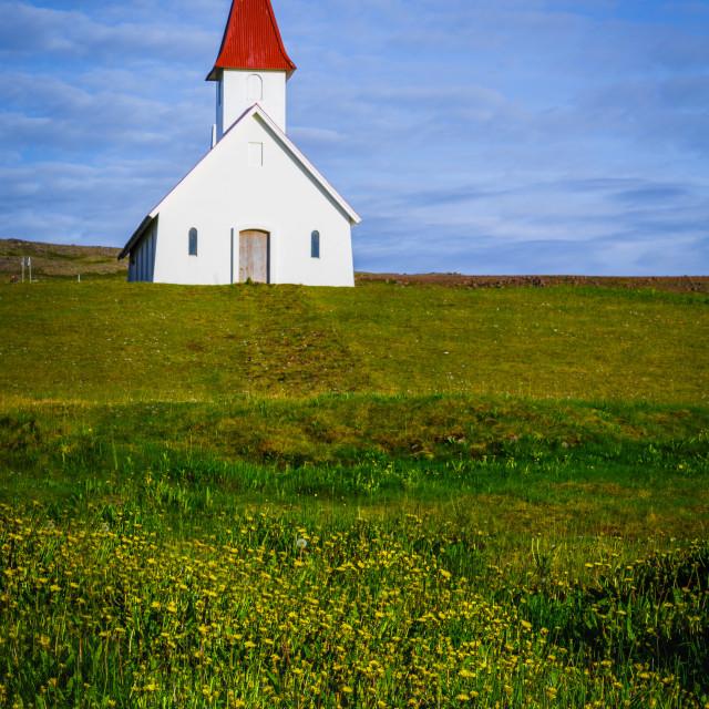 """Látrabjarg, Iceland Church"" stock image"
