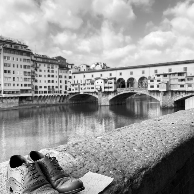 """""""The note... Ponte Vecchio, Florence"""" stock image"""