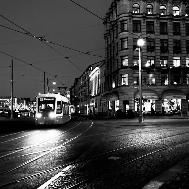 """""""BW Tram of Gothenburg"""" stock image"""