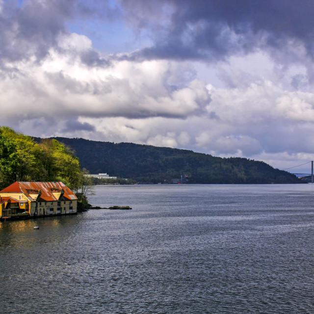 """""""Bergen Harbour"""" stock image"""