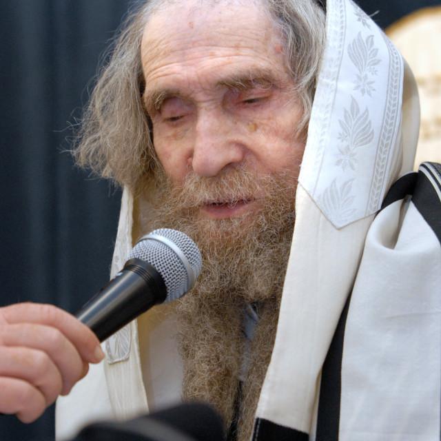 """""""Rav Steinman speaking at Manchester Minyan 3"""" stock image"""