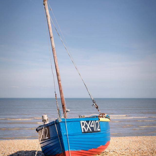 """Boat on beach"" stock image"