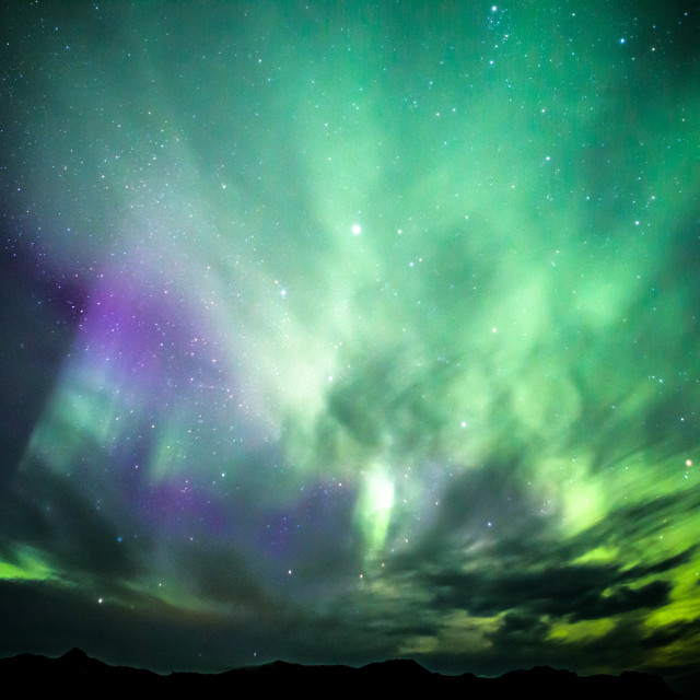 """""""Northern Lights across the night sky over Snaefellsnes, Iceland"""" stock image"""