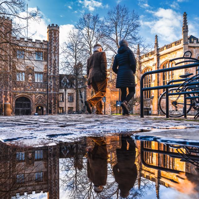 """Reflections from Trinity Street, Cambridge UK."" stock image"