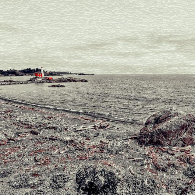 """Fiskard Lighthouse - Vancouver Island, BC"" stock image"