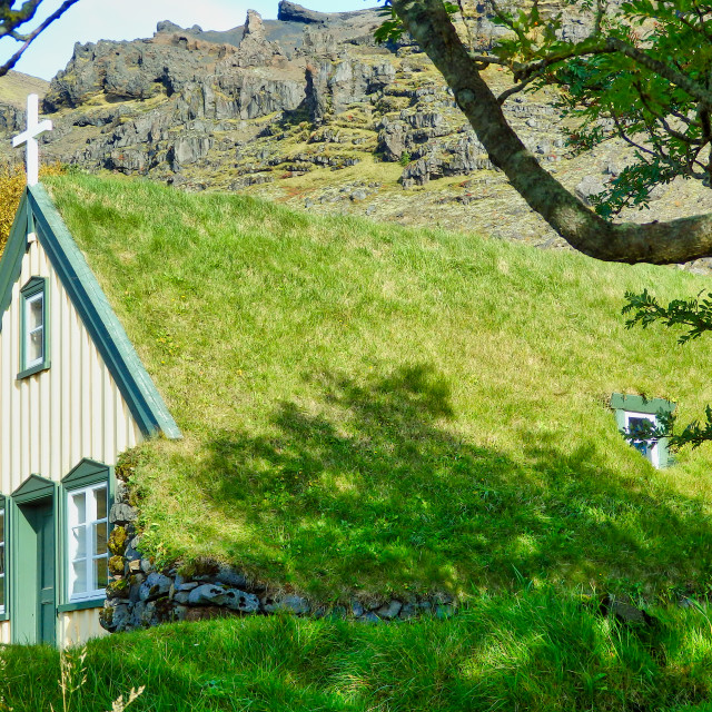 """Hofskirkja Iceland"" stock image"