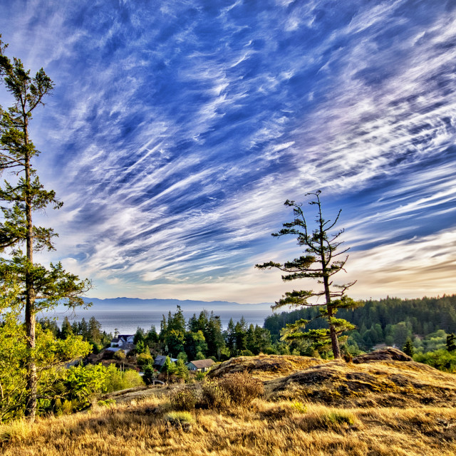 """""""Cirrocumulus Clouds - Sooke, Vancouver Island, BC"""" stock image"""