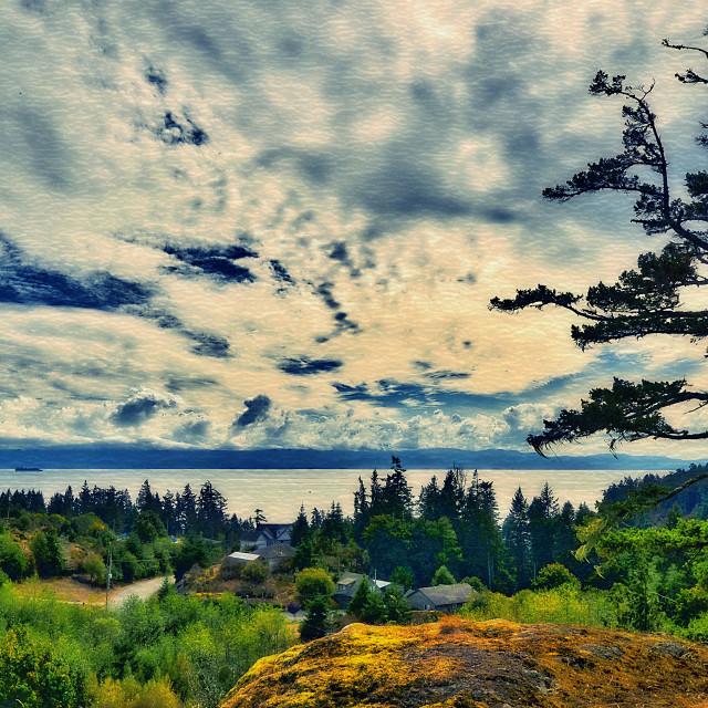 """View Across The St Juan Strait - Sooke, Vancouver Island, BC"" stock image"