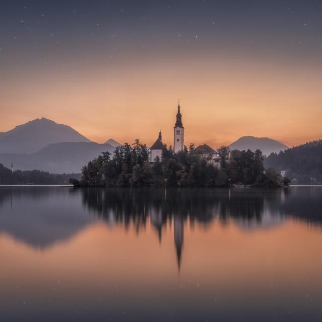 """""""Awakening at Lake Bled"""" stock image"""