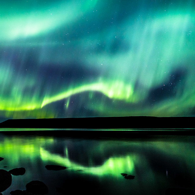 """""""Dragon of the Northern Lights over Iceland"""" stock image"""