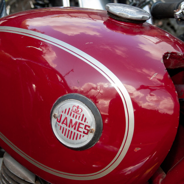 """""""James Trial Bike Fuel Tank with Logo."""" stock image"""
