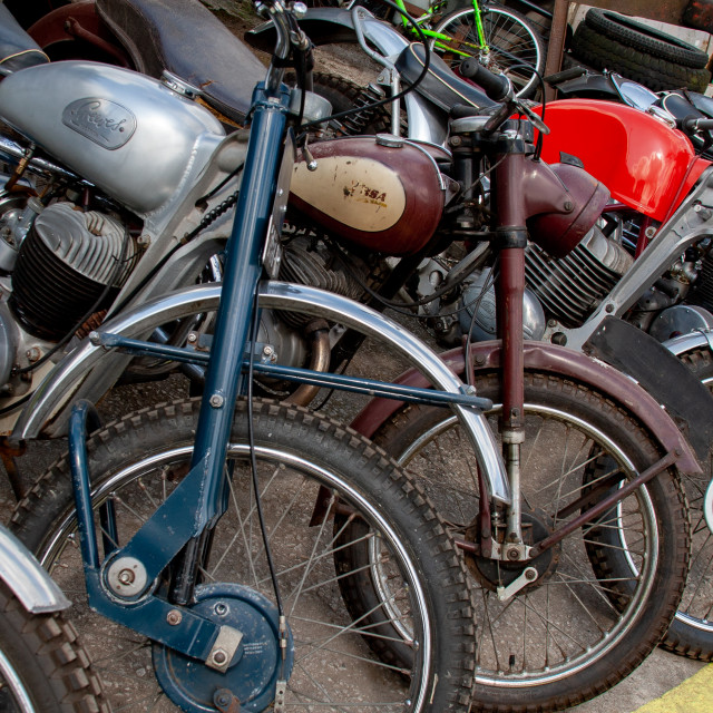 """""""Trial Bikes, Assorted, Yorkshire Dales."""" stock image"""