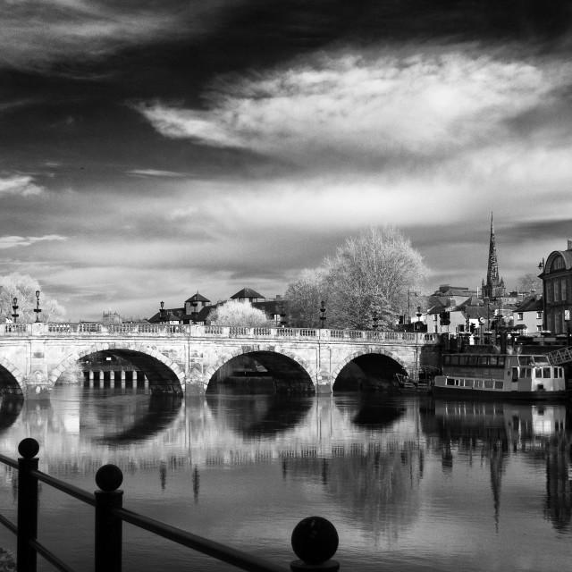 """""""The Welsh Bridge, Shrewsbury"""" stock image"""