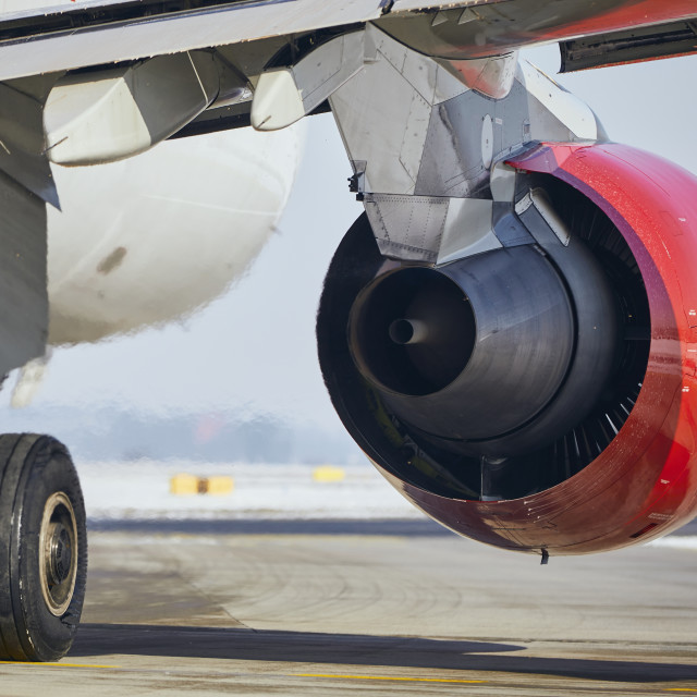 """""""Hot air behind jet engine of plane at airport"""" stock image"""