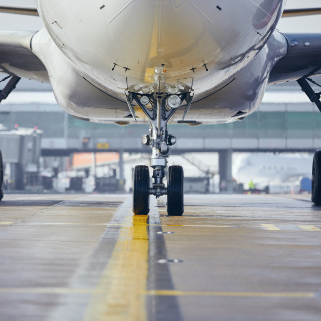 """""""Airplane taxiing to runway before take off"""" stock image"""