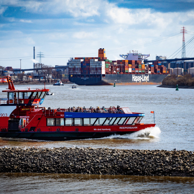 """""""HVV Linienschiff auf der Elbe"""" stock image"""