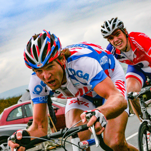 """""""Participants 2007 Tour of Britain, Ilkley, Cow and Calf Climb"""" stock image"""