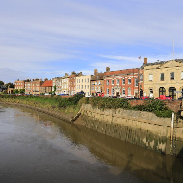 """The North Brink architecture, river Nene, Wisbech town, Cambridgeshire,..."" stock image"