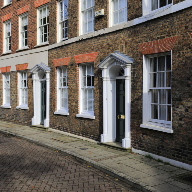 """""""The Crescent, a Georgian row of houses, Union Place, Wisbech town, Fenland,..."""" stock image"""