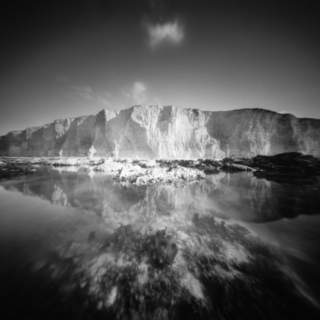 """White cliffs and rock pools - Pinhole photo."" stock image"