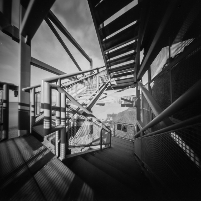 """Steps to the beach - Pinhole photo."" stock image"