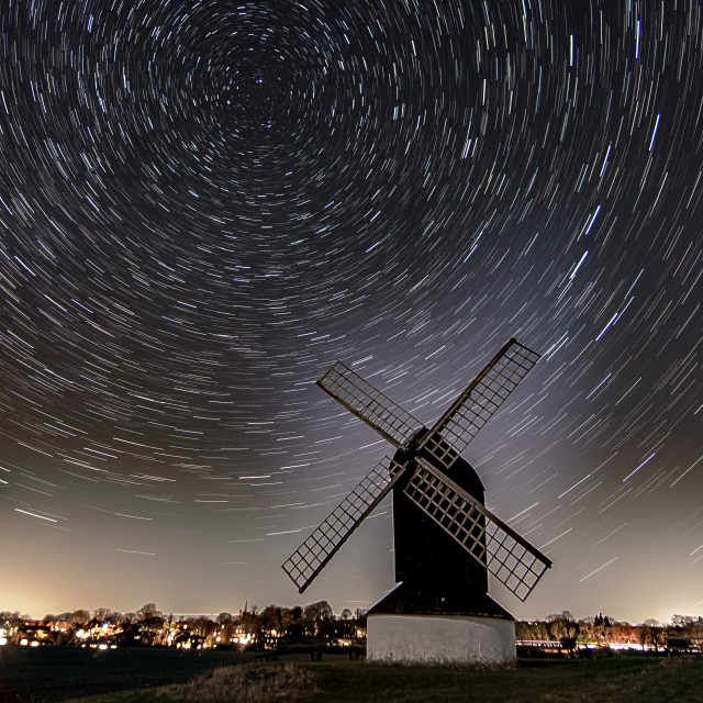 """Star trail at windmill"" stock image"