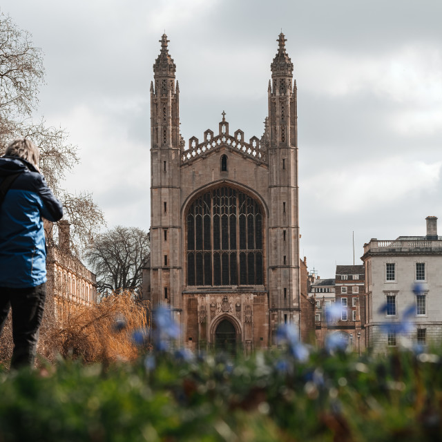 """""""King's College Chapel from The Backs, Cambridge UK."""" stock image"""