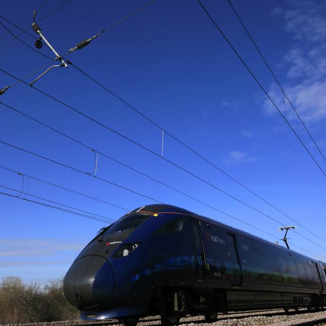 """Hull Trains 802302 Azuma, East Coast Main Line Railway; Peterborough,..."" stock image"