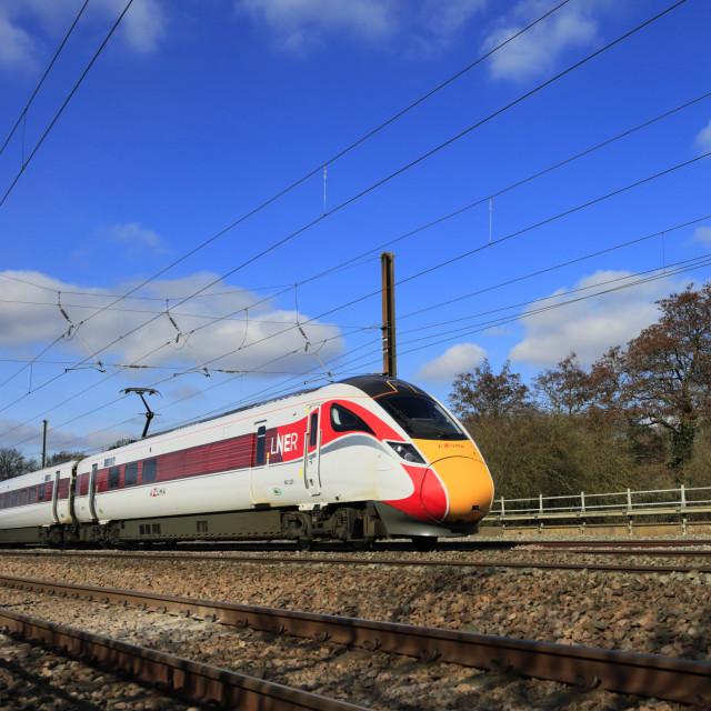 """LNER Azuma train, Class 800, East Coast Main Line Railway, Newark on Trent,..."" stock image"