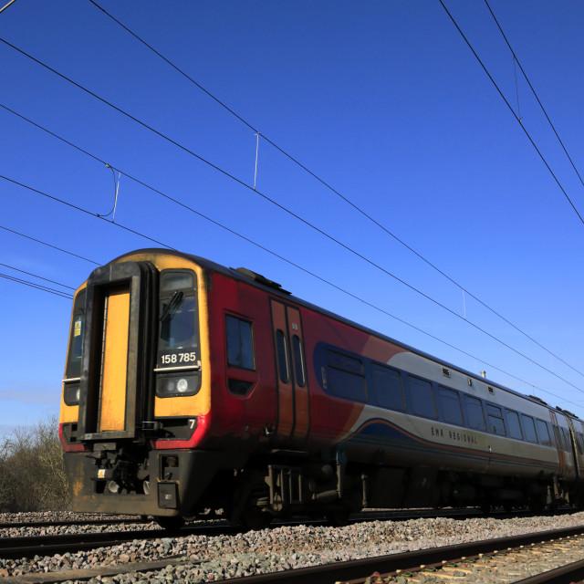 """158785 EMR Regional, East Midlands train, Newark on Trent, Nottinghamshire,..."" stock image"