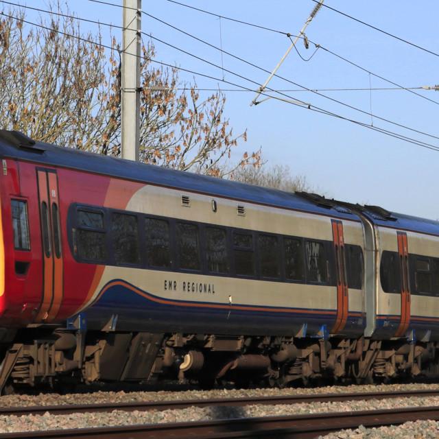 """158847 EMR Regional, East Midlands train, Newark on Trent, Nottinghamshire,..."" stock image"