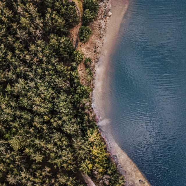 """""""Areal drone view on a lake"""" stock image"""