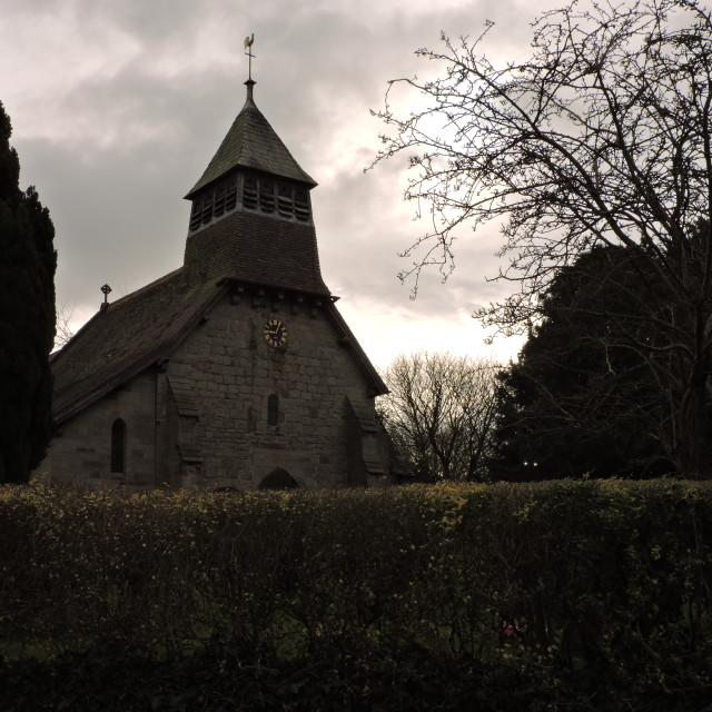 """Marston Montgomery Village Church, Derbyshire, March 2021"" stock image"