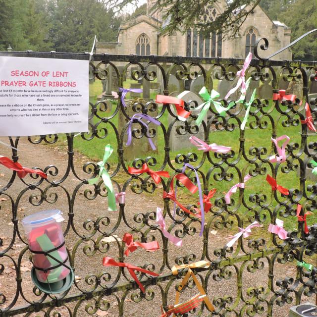 """Prayer Gate Ribbons, All Saints Church, Sudbury, Derbyshire, March 2021"" stock image"