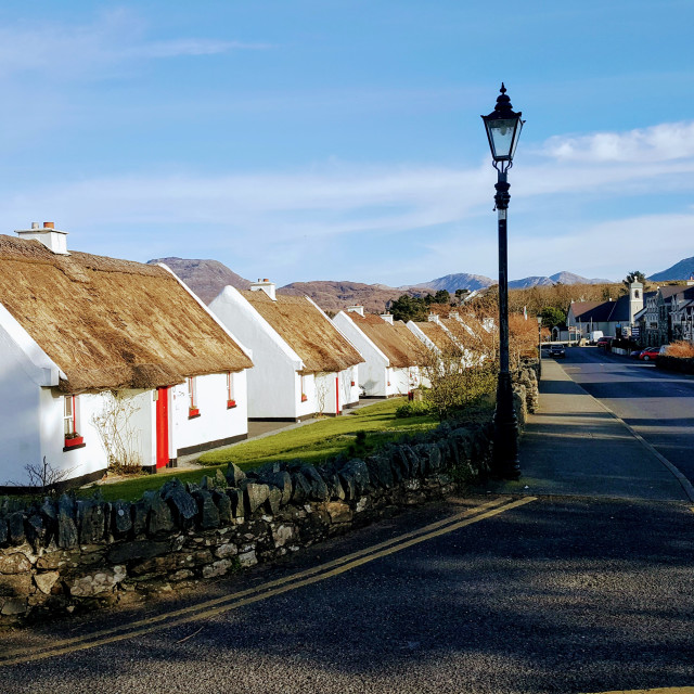 """""""Tullycross Thatched Cottages"""" stock image"""