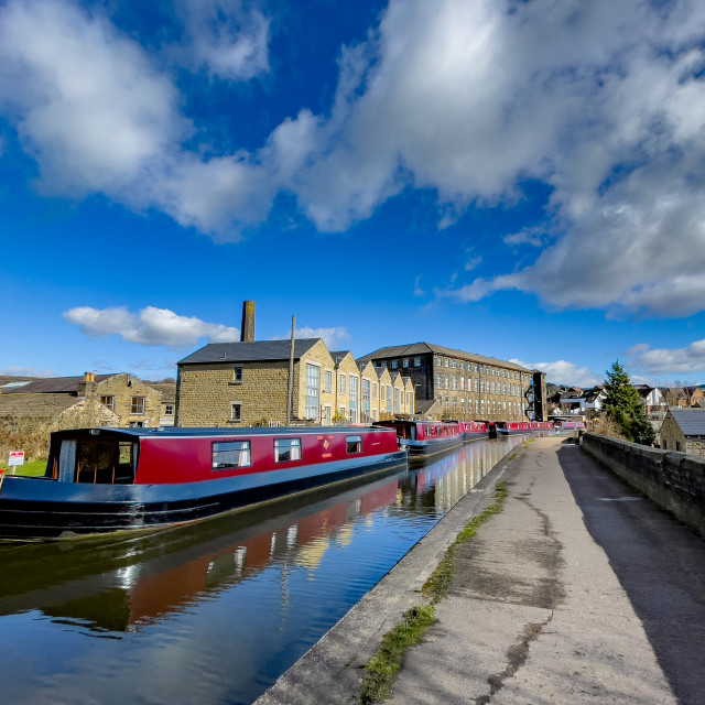 """""""Holiday Narrowboat/Barge Moored on the Leeds and Liverpool Canal at Silsden (Cobbydale) Yorkshire, England,"""" stock image"""