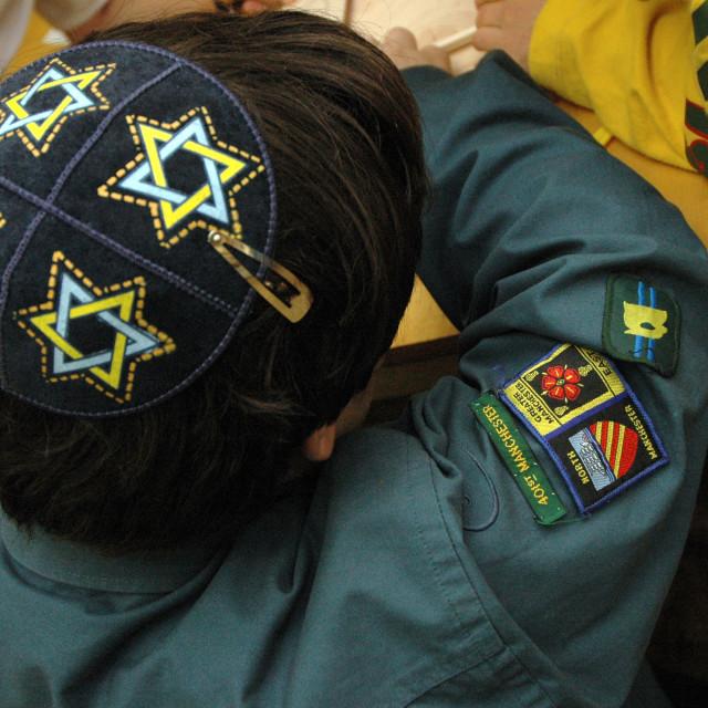 """Jewish Scout wearing Yarmulke"" stock image"