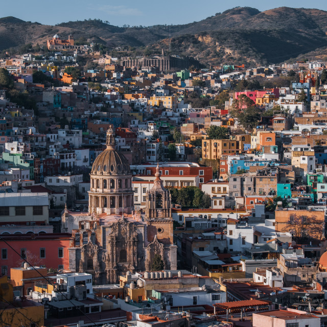 """Sunset over Guanajuato City, Mexico"" stock image"