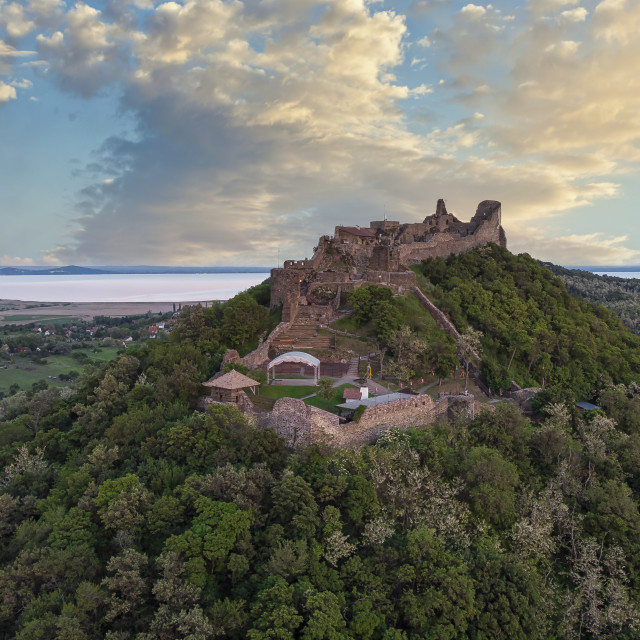 """Drone picture from a beautiful ancient castle Szigliget in Hungary"" stock image"