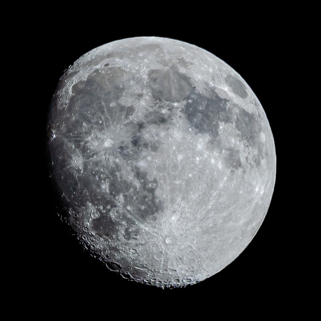 """""""Waxing Gibbous Moon, 89% visible."""" stock image"""
