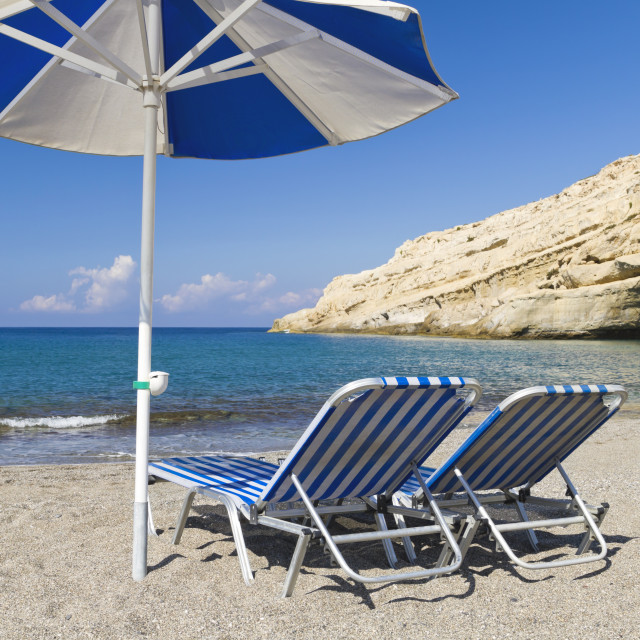 """""""Two sunbeds and a parasol"""" stock image"""